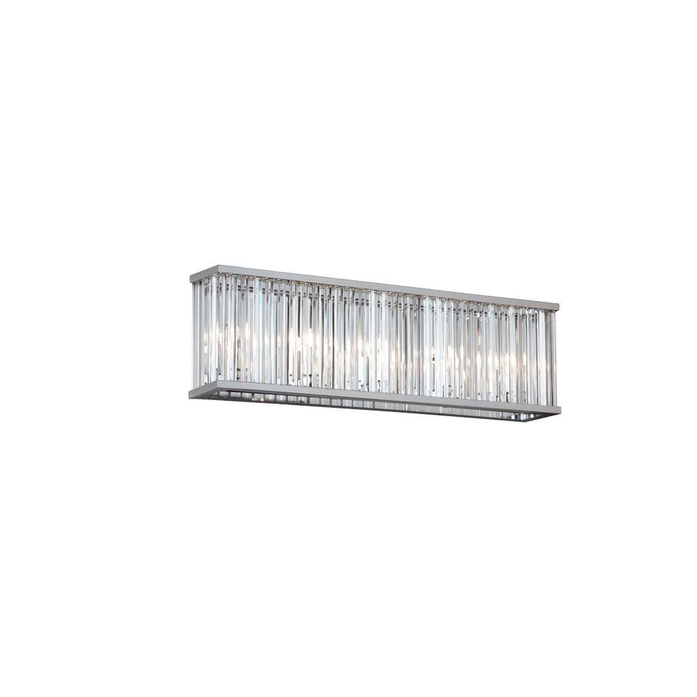 Radionic Hi Tech Aruba 4-Light Polished Chrome Vanity Light with Crystals