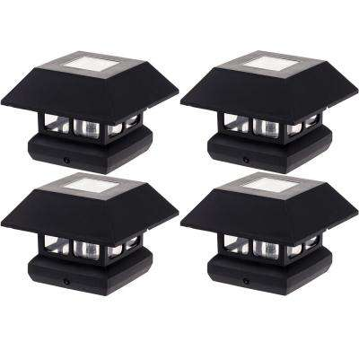 4 in. x 4 in. Solar Powered Integrated LED Black Post Cap Light for Nominal Wood Posts (4-Pack)
