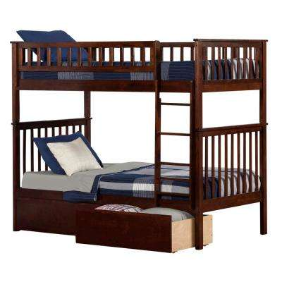 Woodland Walnut Twin Over Twin Bunk Bed with 2-Urban Bed Drawers
