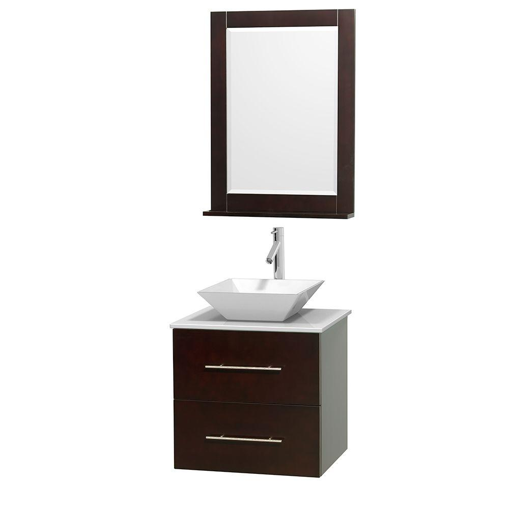 Centra 24 in. Vanity in Espresso with Solid-Surface Vanity Top in