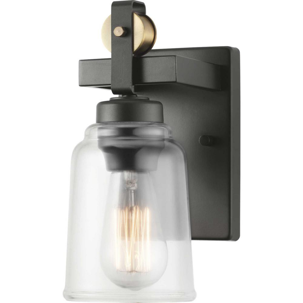 Home Decorators Collection Knollwood 4.5 in. Antique Bronze Sconce with Vintage Brass Accents and Clear Glass Shade