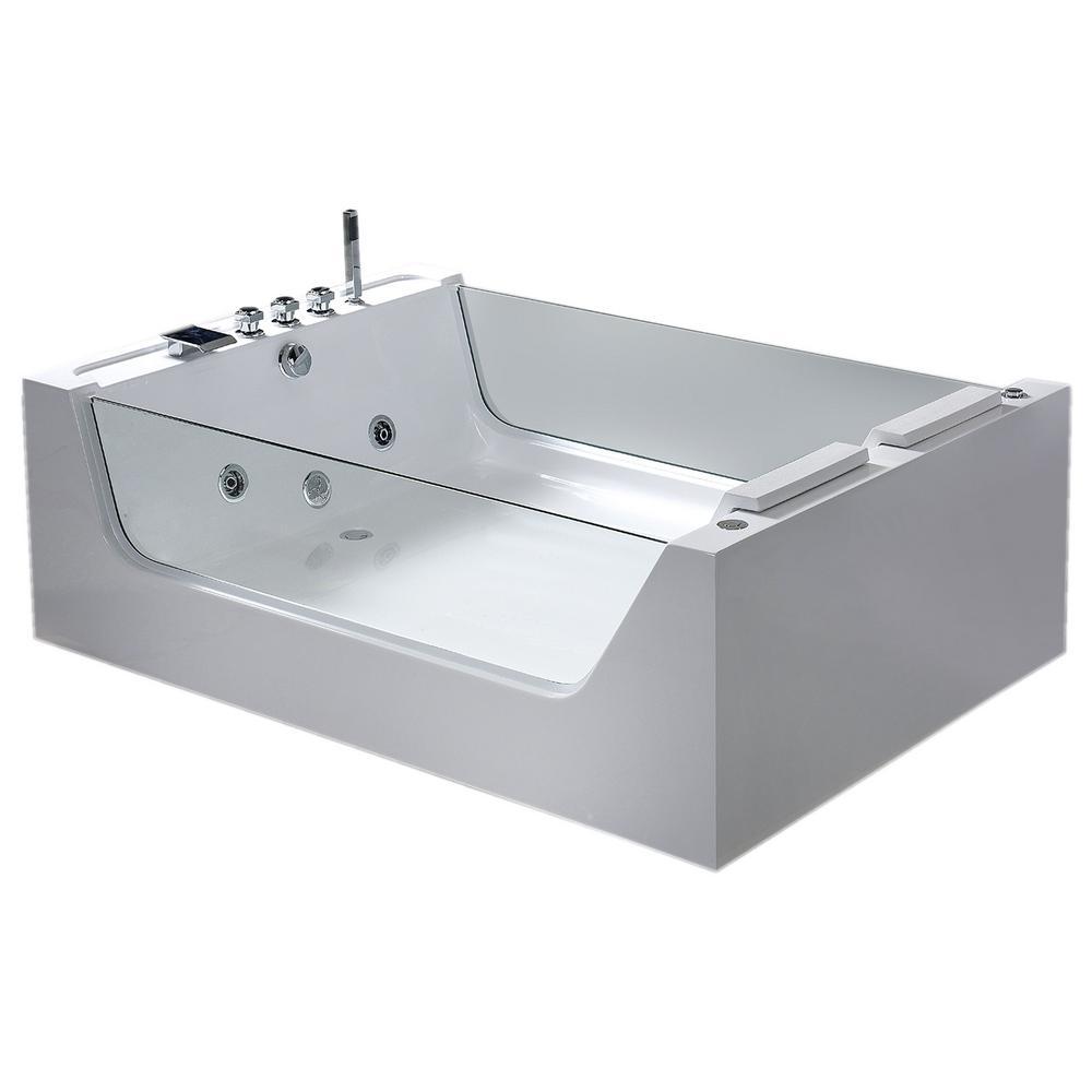 Iris 67 in. Acrylic Flatbottom Whirlpool Bathtub in White