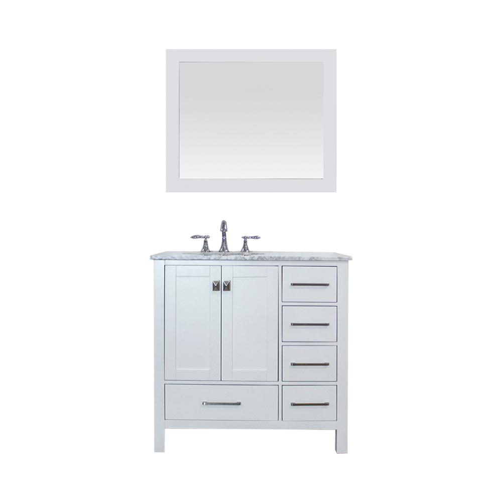 ROSWELL Gela 36 in. W x 22 in. D Bath Vanity in White with Marble Vanity Top in White with White Basin, Faucet and Mirror