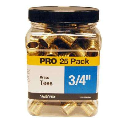 3/4 in. Brass PEX Barb Tee Jar (25 Pack)