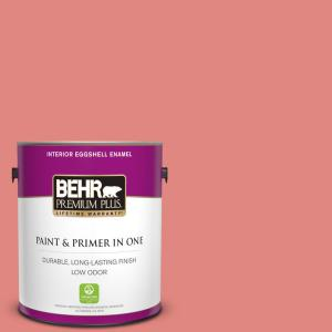 Behr Premium Plus 1 Gal Ppu1 04a Watermelon Punch Eggshell Enamel Low Odor Interior Paint And Primer In One 230001 The Home Depot