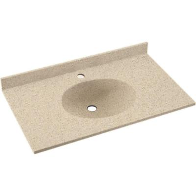 Ellipse 43 in. W x 22 in. D Solid Surface Vanity Top with Sink in Bermuda Sand
