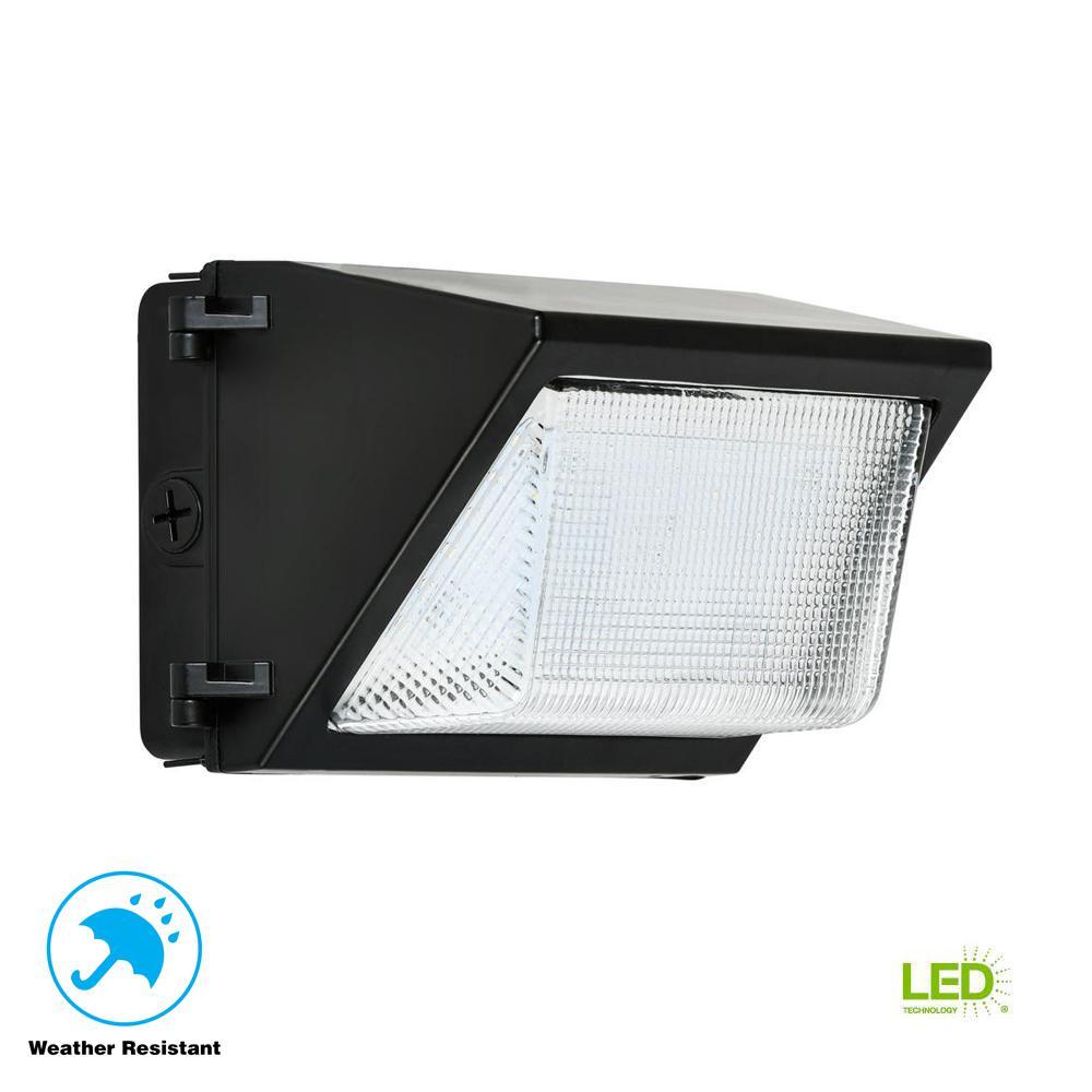 Led Wall Pack Exterior Lights: 52-Watt Black Outdoor Integrated LED Rectangular Wall Pack
