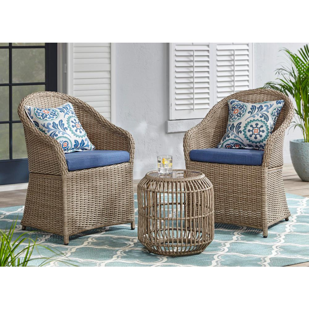 hampton bay Florence 3-Piece Wicker Outdoor Bistro Set with Blue Cushions