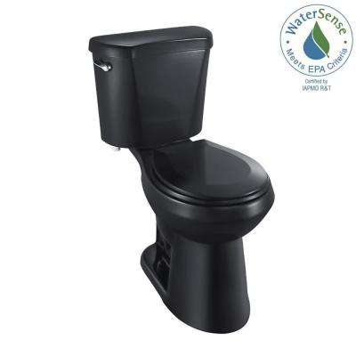 2-piece 1.28 GPF High Efficiency Single Flush Round Front Toilet in Black