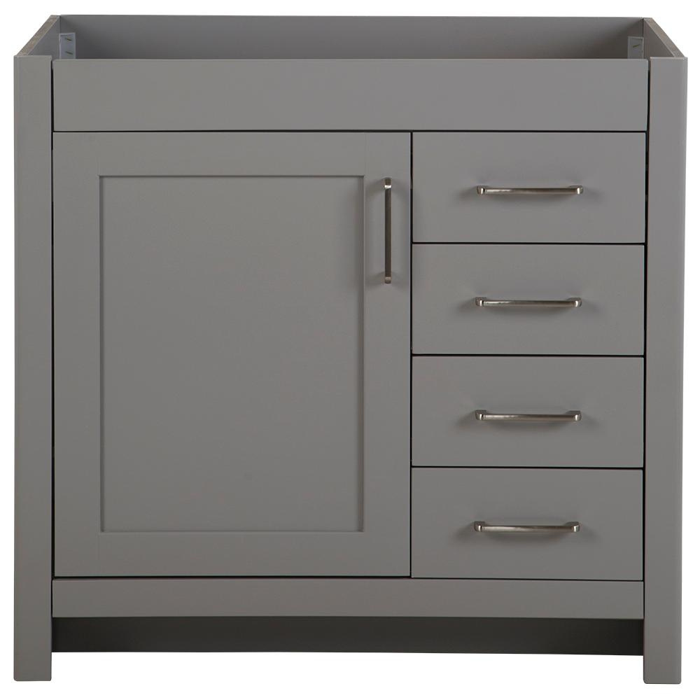 Home Decorators Collection Westcourt 36.02 in. W x 21.69 in. D x 34.25 in. H Bath Vanity Cabinet Only in Sterling Gray