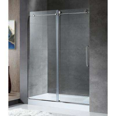 Leon 60 in. x 76 in. Frameless Sliding Shower Door in Chrome with Handle