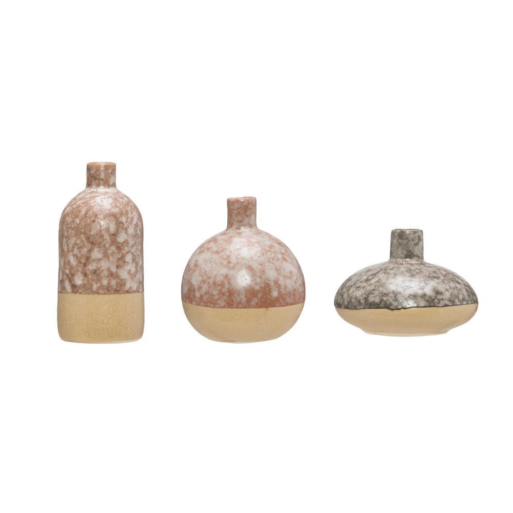 Brown Stoneware Decorative Vase (Set of 3)