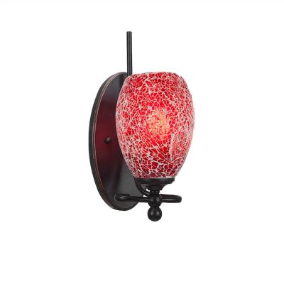 1-Light Dark Granite Sconce with Red Tiffany-Style Glass