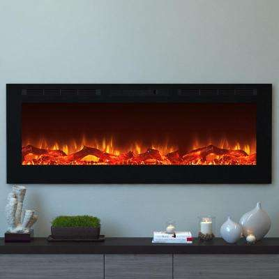 Cynergy 60 in. XL Log Electric Recessed Built-In Fireplace in Black