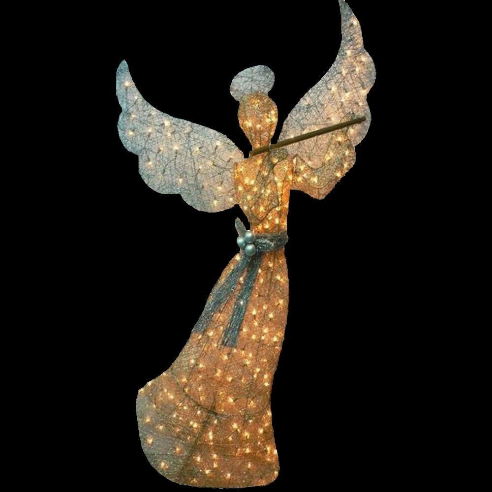 60 in. Pre-Lit Gold Angel