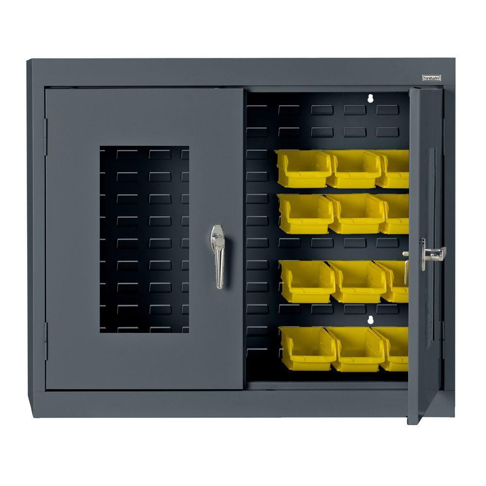 30 in. H x 36 in. W x 12 in. D Clear View Bin Wall Cabinet in Charcoal