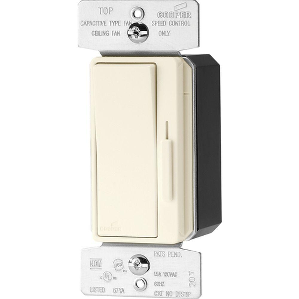 Lutron Diva 15 Amp Single Pole 3 Way Quiet Speed Fan Control Capacitor Type Wiring Light Almond