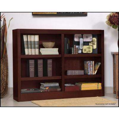 Midas Double Wide 6-Shelf Bookcase in Cherry