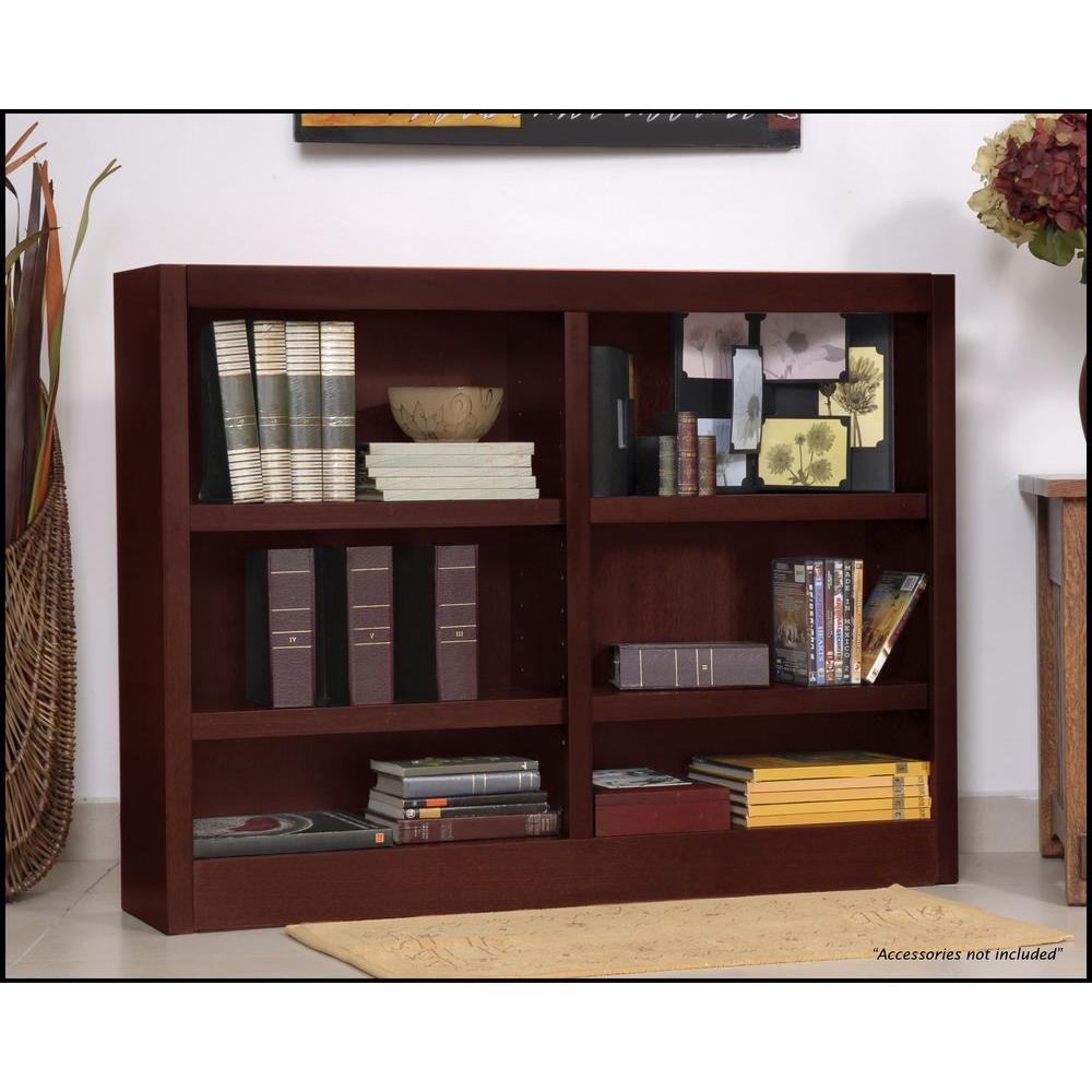 Midas Double Wide 6-Shelf Bookcase in Cherry