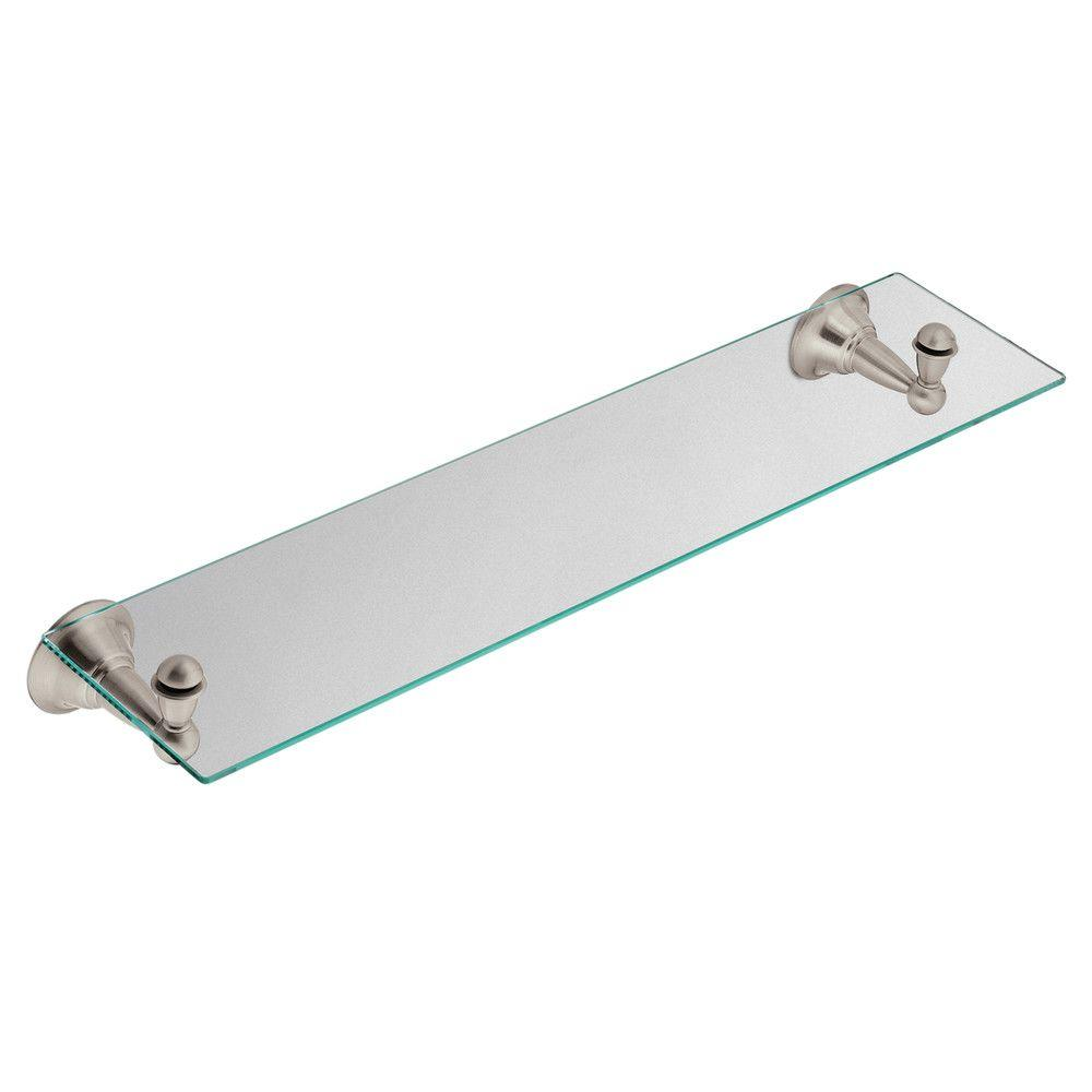 MOEN Sage 22 in. W Glass Bath Shelf in Spot Resist Brushed Nickel ...