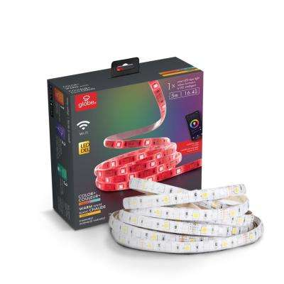 Wi-Fi Smart 16.4 ft. LED Strip Light Multi-Color Changing RGB Dimmable No Hub Required Voice Activated