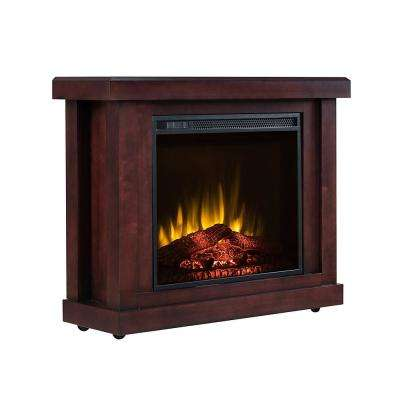 Asinzia 37 in. Infrared Rolling Electric Fireplace TV Stand in Dark Cherry