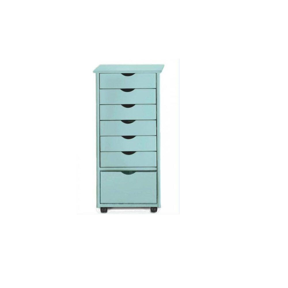 Home Decorators Collection Stanton 36 in. H Blue 6+1 Drawer Storage Cart