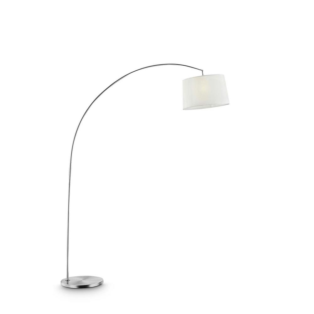 ORE International Oma 84.5 in. White Shade Silver Arch-Floor Lamp