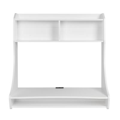 38 in. Rectangular White Floating Desk with Cable Management