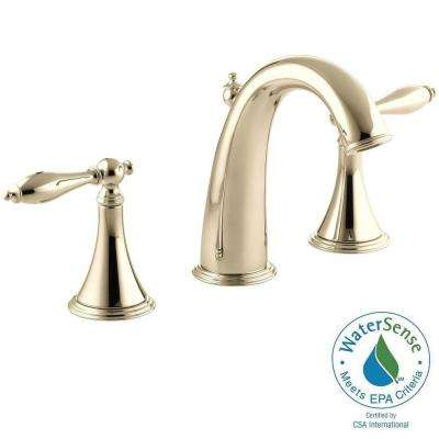 Finial Traditional 8 in. Widespread 2-Handle High-Arc Bathroom Faucet in Vibrant French Gold with Lever Handles