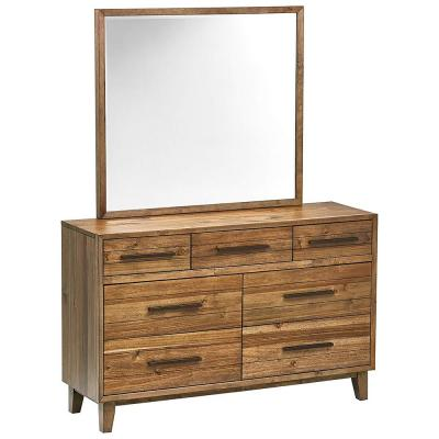 7-Drawer 72 in. H x 55 in. W Modern Dresser in Butterscotch Finish with Mirror