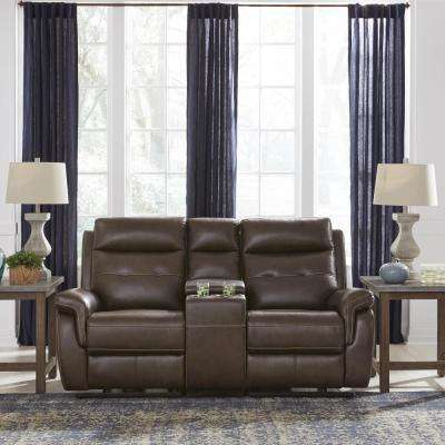 Lux Brown Leather Power Motion Reclining Console Love Seat