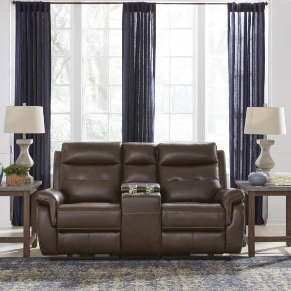 HOMESTYLES Lux Brown Leather Power Motion Reclining Console Love Seat 5325-61