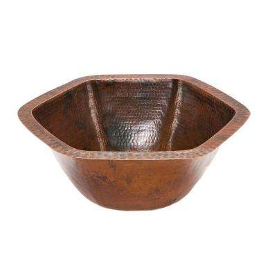 Under-Counter Hexagon Hammered Copper Bathroom Sink in Oil Rubbed Bronze