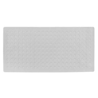 18 in. x 36 in. Extra Long Rubber Bath Safety Mat with Microban in Gray