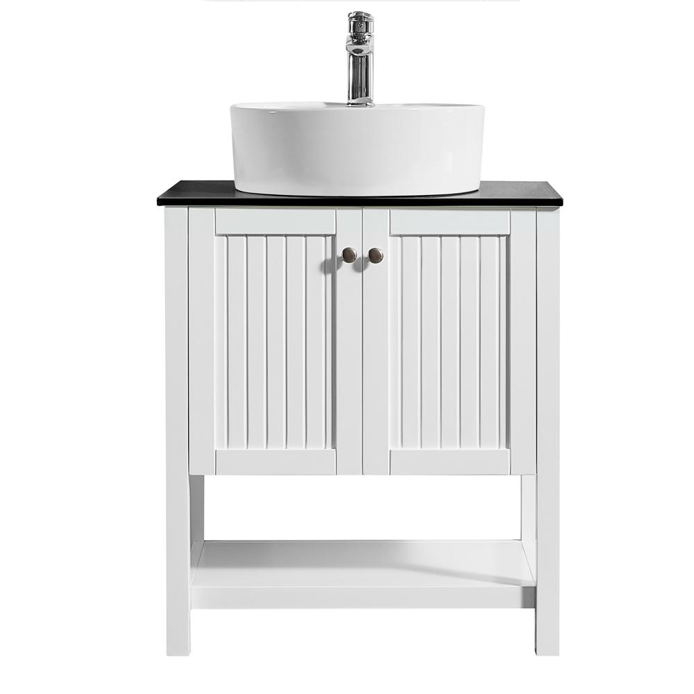 ROSWELL Modena 28 in. W x 18 in. D Vanity in White with Glass Vanity Top in Black with White Basin