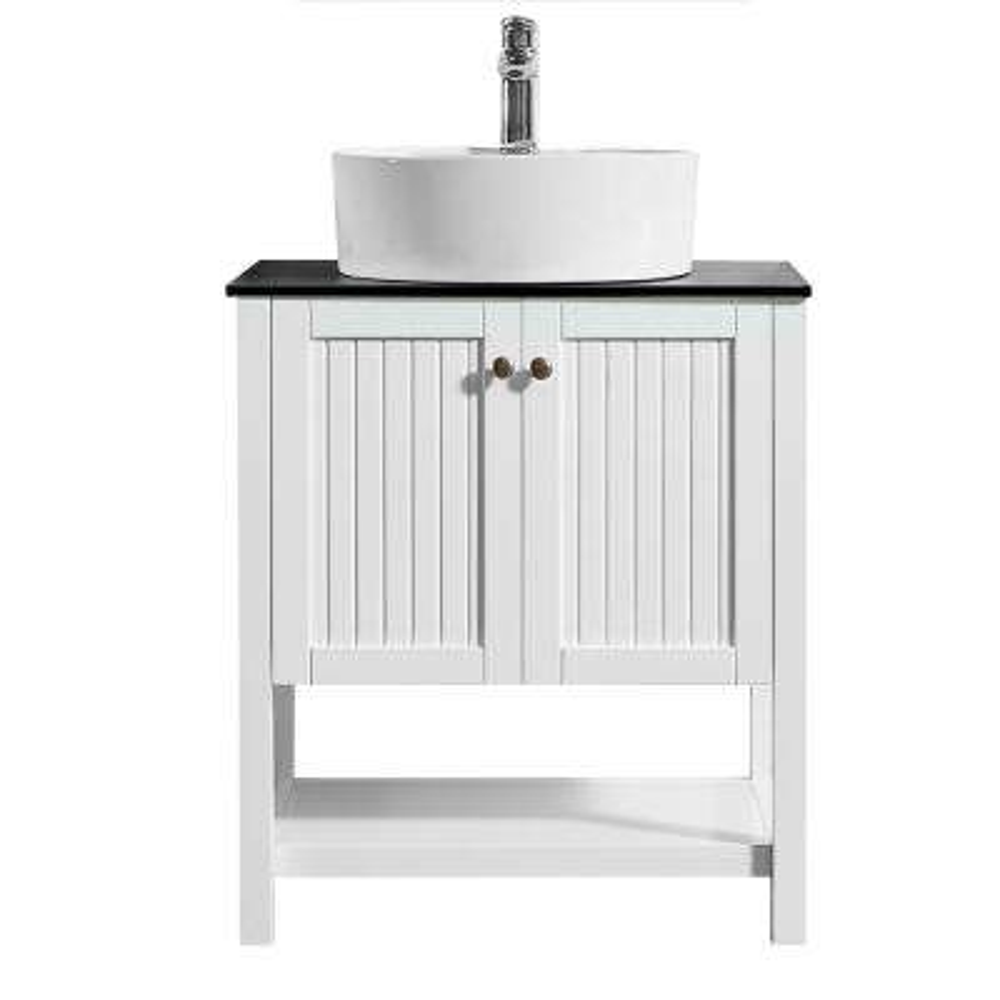 Modena 28 in. W x 18 in. D Vanity in White with Glass Vanity Top in Black with White Basin