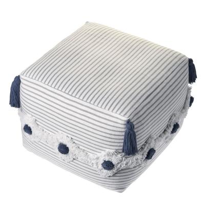 Striped Gray  Ivory Tufted Pouf