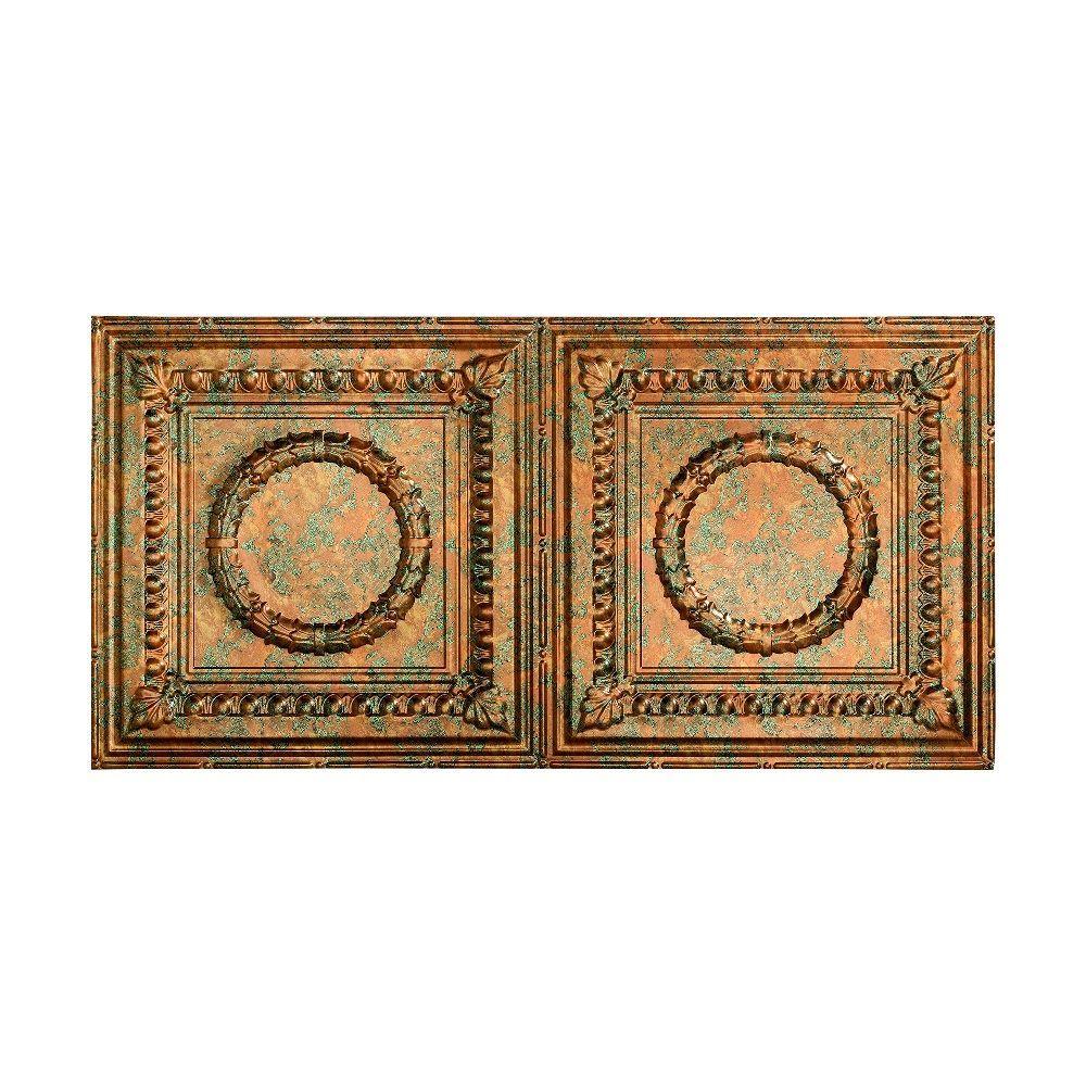 Rosette - 2 ft. x 4 ft. Glue-up Ceiling Tile in Copper Fantasy
