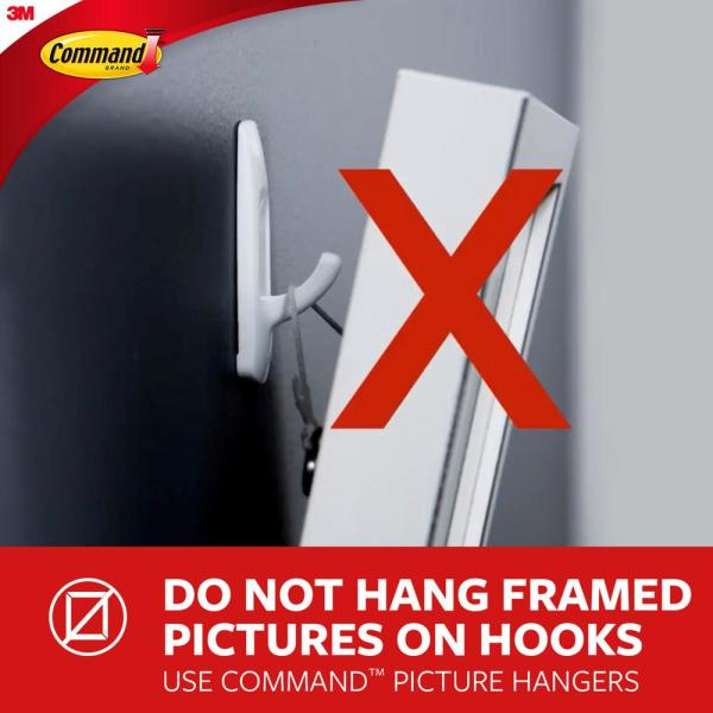 Command Metal Hook 2 Pack 2 Strips 1 Hook Decorate Damage-Free MR03-BN-ES Silver
