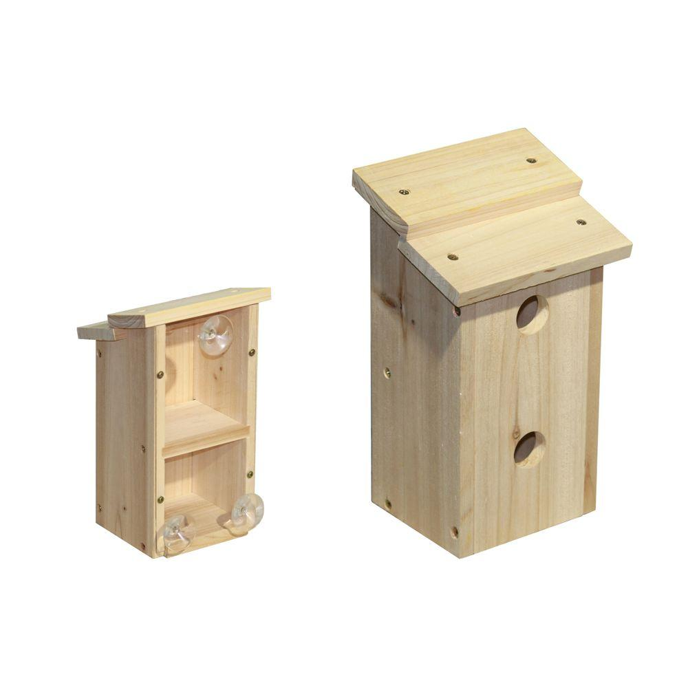 Lohasrus Wood Bird Hotel with 3 Suction Cups 1-1/8 in. Opening-DISCONTINUED