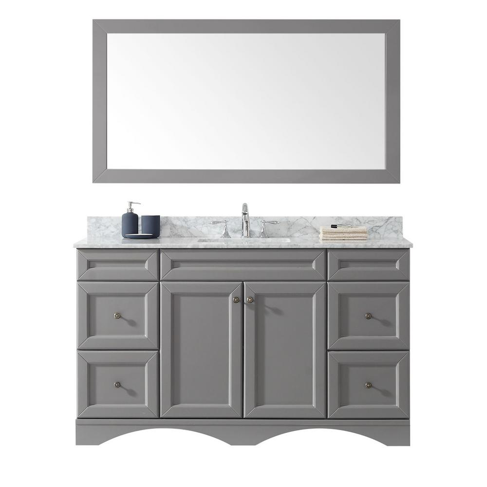 Virtu USA Talisa 60 in. W Bath Vanity in Gray with Marble Vanity Top in White with Square Basin and Mirror