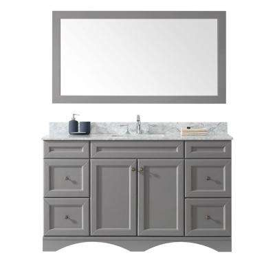 Talisa 60 in. W x 22 in. D Vanity in Gray with Marble Vanity Top in White with Square White Basin and Mirror