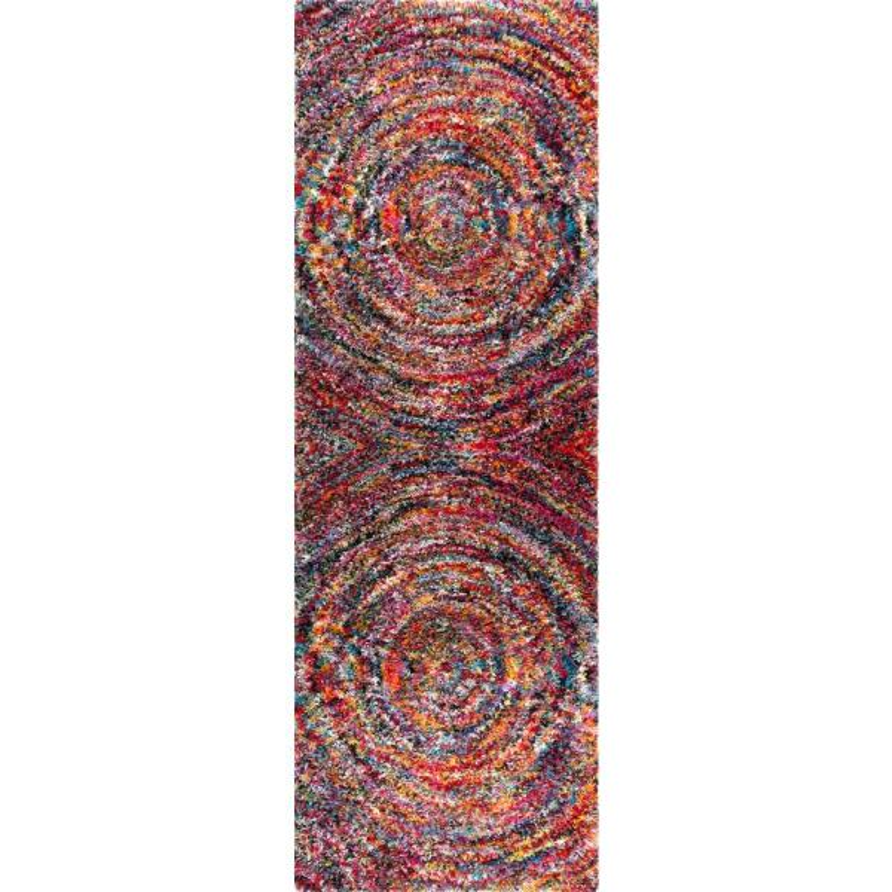 Ardelle Swirl Shag Multi 3 ft. x 8 ft. Runner