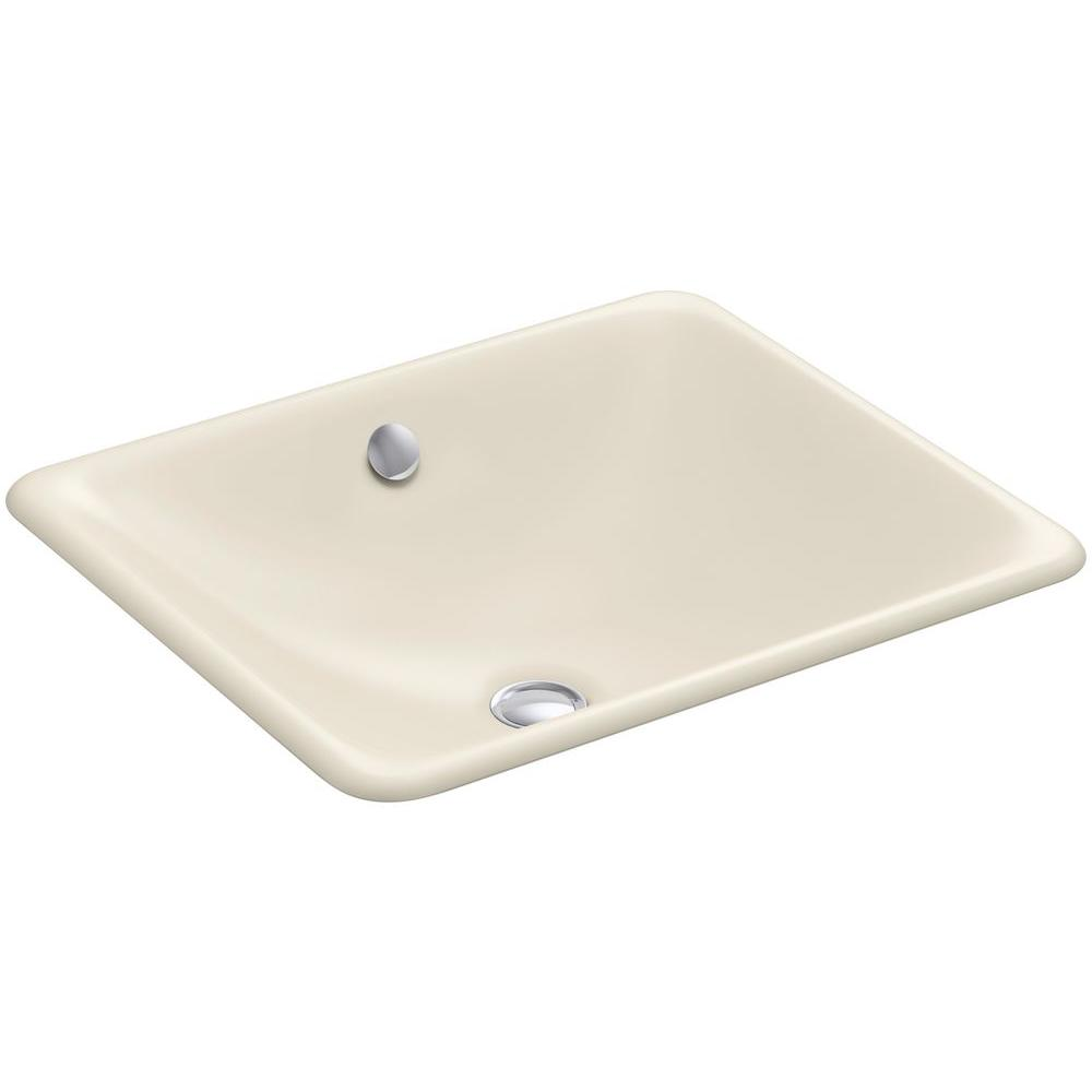 Iron Plains Dual-Mounted Cast Iron Bathroom Sink in Almond with Overflow
