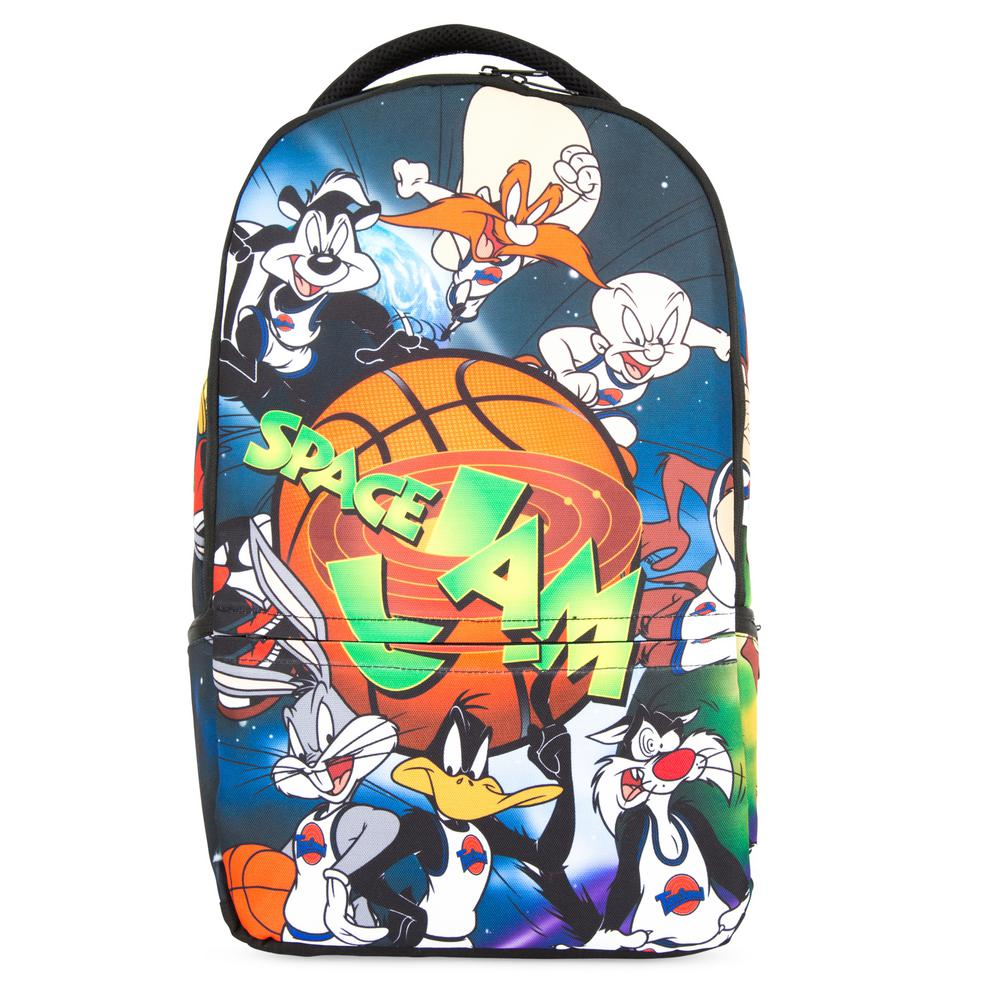 Looney Toons Space Jam Laptop Backpack for Machines up to 16 in., Multi Come on and slam, and welcome to the jam with this official Looney Toons Space Jam backpack. It is decorated with dye sublimated characters from the classic Space Jam movie and made with durable ballistic nylon fabric with a polyester lined interior. The inside has padded laptop and tablet pockets that fit machines up to 16 inches. The zipped mesh accessories pocket is perfect for SD cards, flash drives, and cables, while a front zip accessories pocket lets you stash your headphones or phone. Other pockets include a small pocket at the top and zip side pocket on both sides for additional storage. The padded mesh back and adjustable curved padded shoulder straps help keep your back comfortable, and it is topped with a padded top handle for quick grabbing and hanging on hooks. Color: Multi.