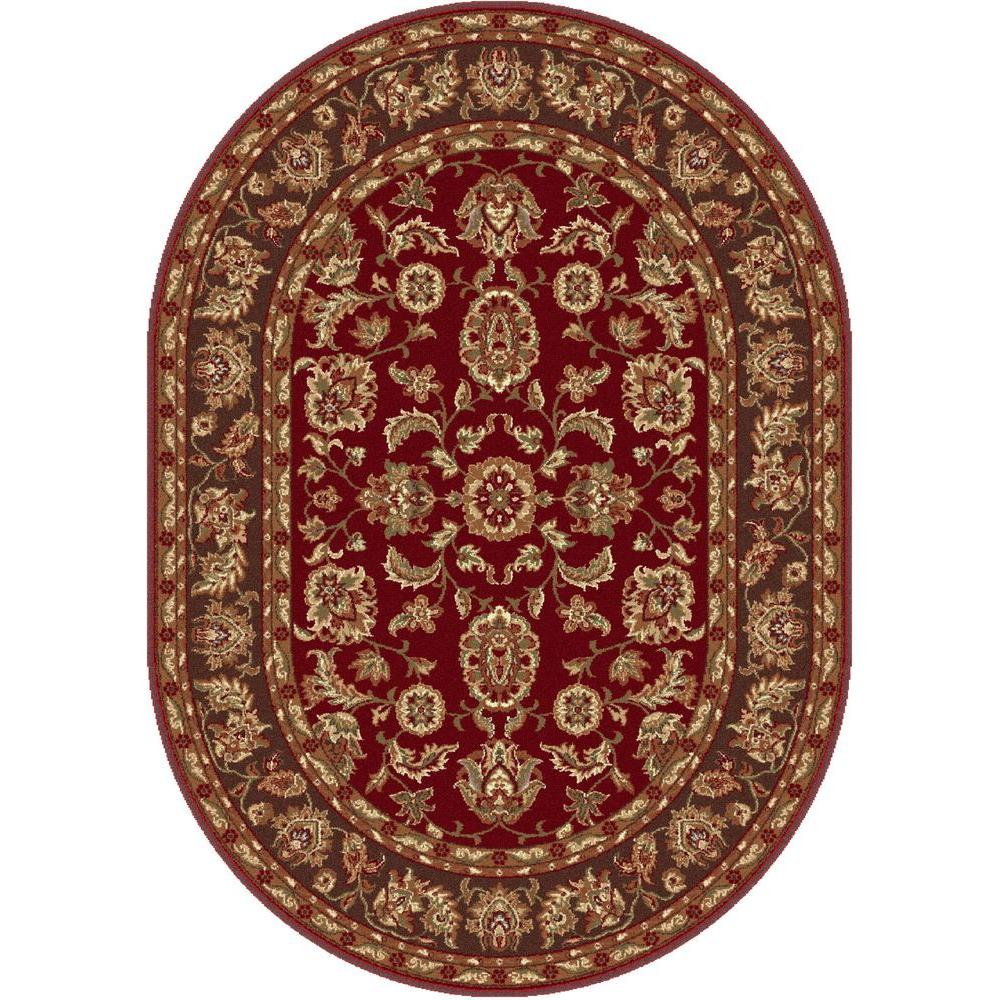 Tayse Rugs Sensation Brown 6 ft. 7 in. x 9 ft. 6 in. Oval Transitional Area Rug