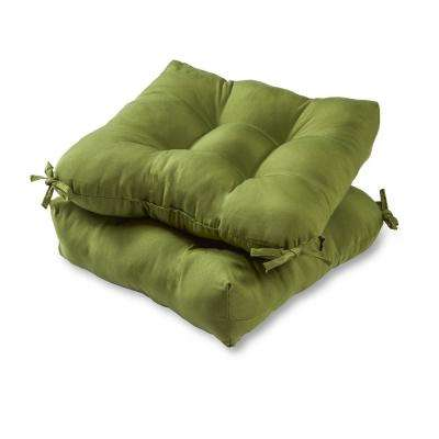 Solid Summerside Green Square Tufted Outdoor Seat Cushion (2-Set)
