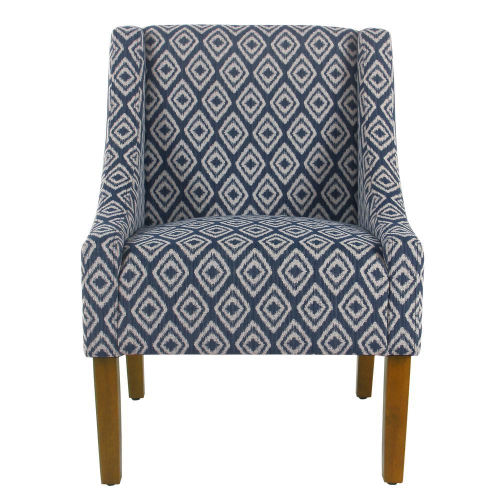 Homepop blue indigo geo modern swoop arm accent chair