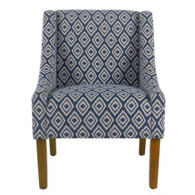 Blue Indigo Geo Modern Swoop Arm Accent Chair